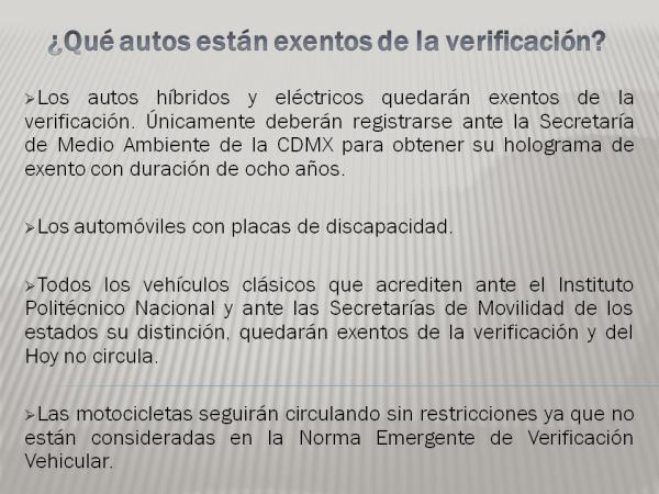 Qué autos están exentos de la verificación