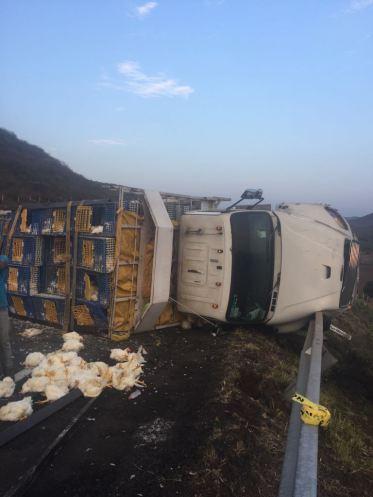 Mayo Camión accidentado en Michoacán en km 263 Ctra. Maravatío- Zapotlanejo. Vía @PoliciaFedMx.